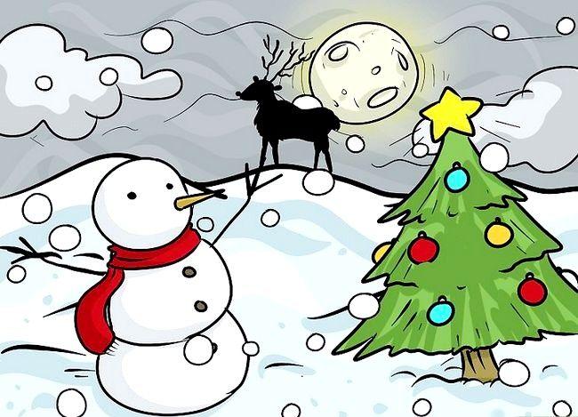 Imagine cu titlul Desenarea unui peisaj de Crăciun Pasul 12