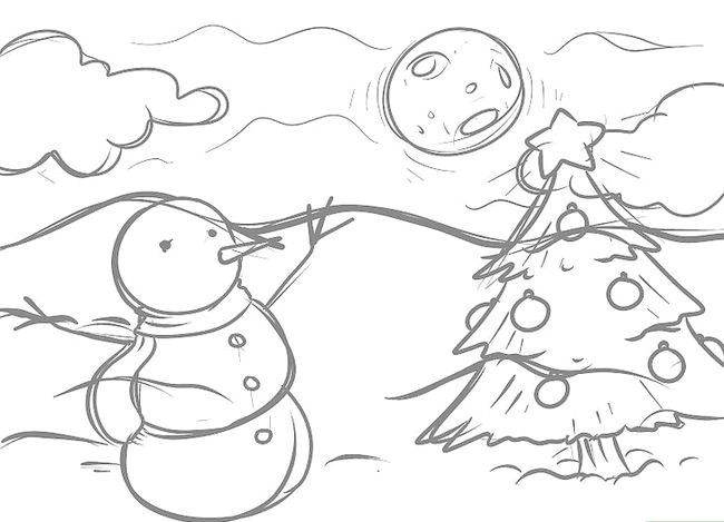 Imagine cu titlul Desenarea unui peisaj de Crăciun Pasul 9
