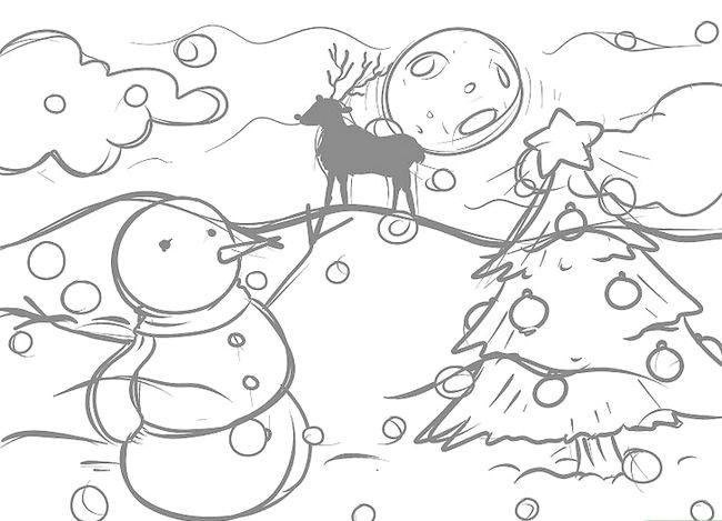 Imagine cu titlul Desenarea unui peisaj de Crăciun Pasul 10